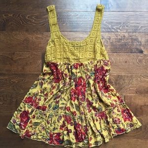 Yellow Floral Swing Tunic/Dress